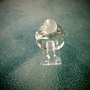 Sterling Silver Smokey Grey Oval Moonstone Ladies Ring