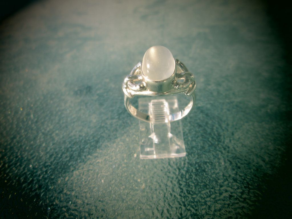 Sterling Silver Smokey Grey Oval Moonstone Ladies Ring