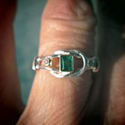 Sterling Silver/9kt Pink Gold Vivacious Emerald/Diamond Ladies Ring