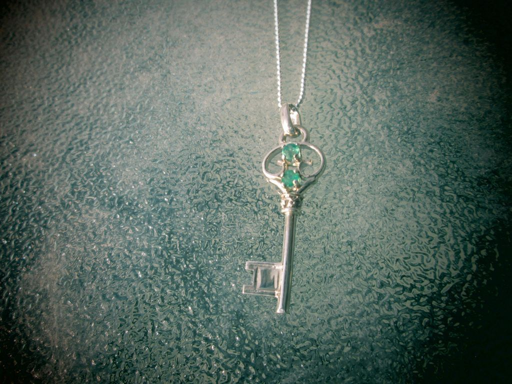 Sterling Silver Multi Emerald Key Pendant with Chain