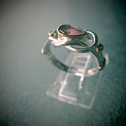 Sterling Silver and 9kt Yellow Gold Pear Shape Pink Tourmaline Ladies RIng
