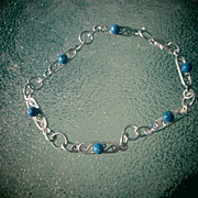 Sterling Silver Multi Lapis Lazuli Link Bracelet