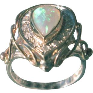 Blue/Green Fiery Pear Shape Opal and Multi Diamond Ladies Ring in Sterling/9kt Yellow Gold