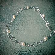 Sterling Silver Multi Freshwater Pearl Link Bracelet