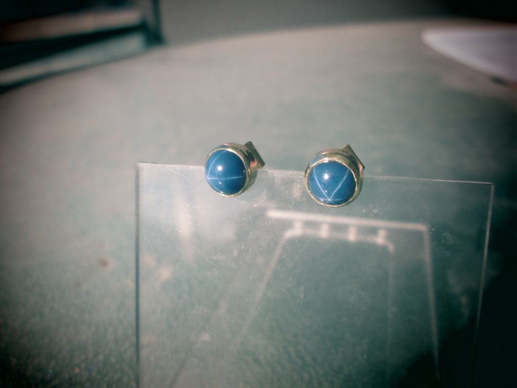 9kt Yellow Gold Lindy Blue Star Sapphire Stud Earrings