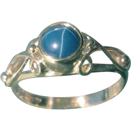 9kt Yellow Gold Lindy Blue Star Sapphire Ladies Ring