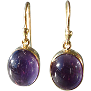 9kt Yellow Gold Deep Purple Cabochon Amethyst Dangle Earring