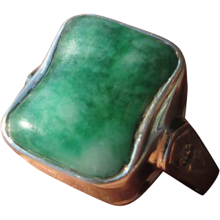 Sterling Silver/9kt Yellow Gold Vibrant Rectangular Jade/Diamond Ladies Ring