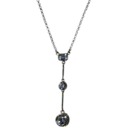 Sterling Silver Dangling Multi Cubic Zirconia Necklace