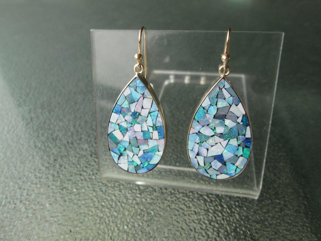 9kt Yellow Gold Drop Shape Mosaic Opal Dangle Earrings.