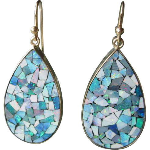 9kt Yellow Gold Drop Shape Mosaic Opal Dangle Earrings.