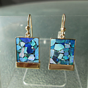 9kt Yellow Gold Square Mosaic Opal Dangle Earrings