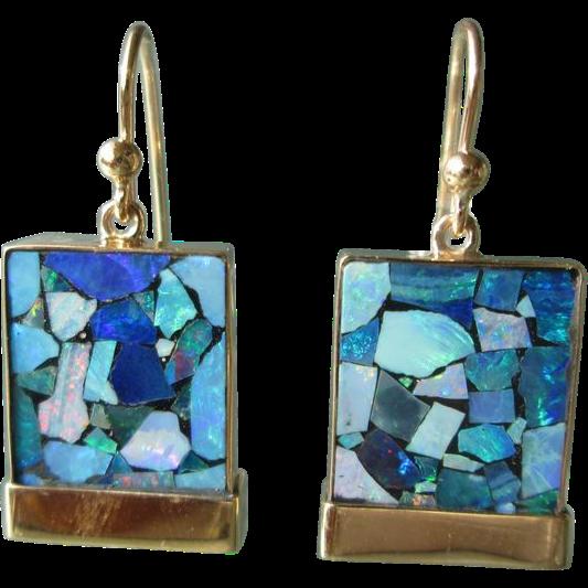 9kt Yellow Gold Square Mosaic Opal Dangle Earrings