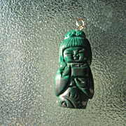14kt Yellow Gold Carved Malachite Geisha Girl