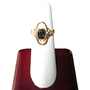 9kt Yellow Gold Oval Green Tourmaline and Diamond Ladies Ring