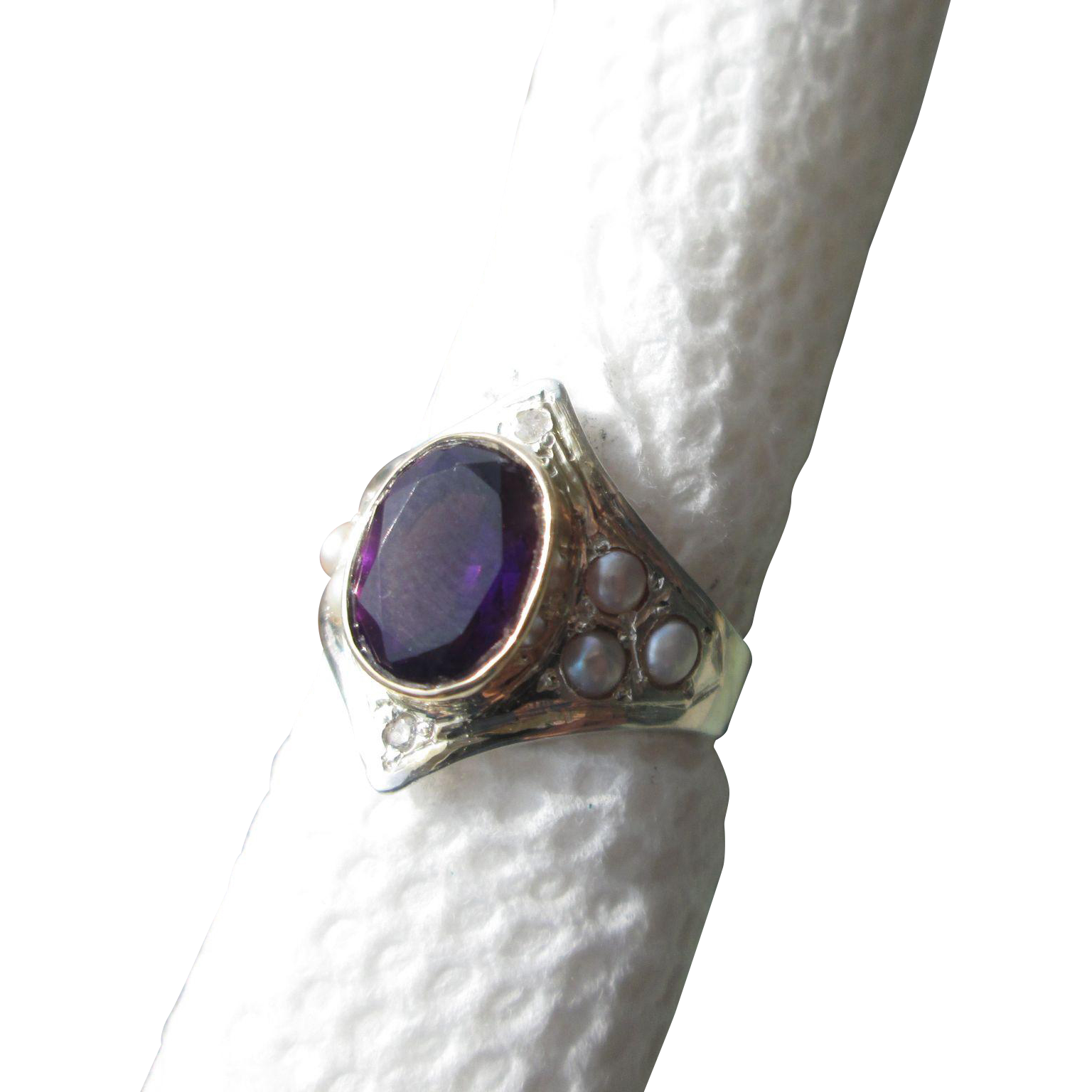 Sterling Silver/9kt Yellow Gold Deep Purple Oval Amethyst and Multi Seed Pearl, Diamond Ladies Ring