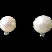 14kt Yellow Gold Large Freshwater Pearl/Diamond Stud Earrings Post/Butterfly