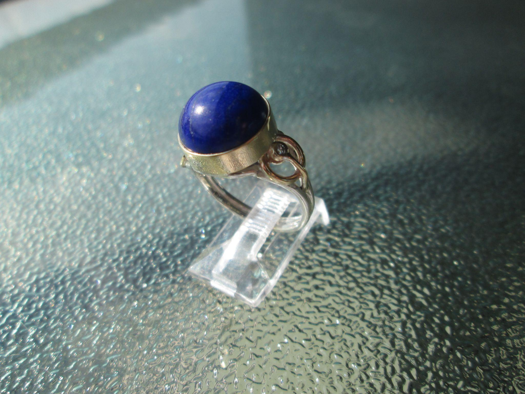 Sterling Silver/9kt Yellow Gold Large Dome Deep Blue Lapis Lazuli and Diamond Ladies Ring