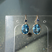14kt Yellow Gold Brilliant Blue Topaz and Sapphire Dangle Earrings