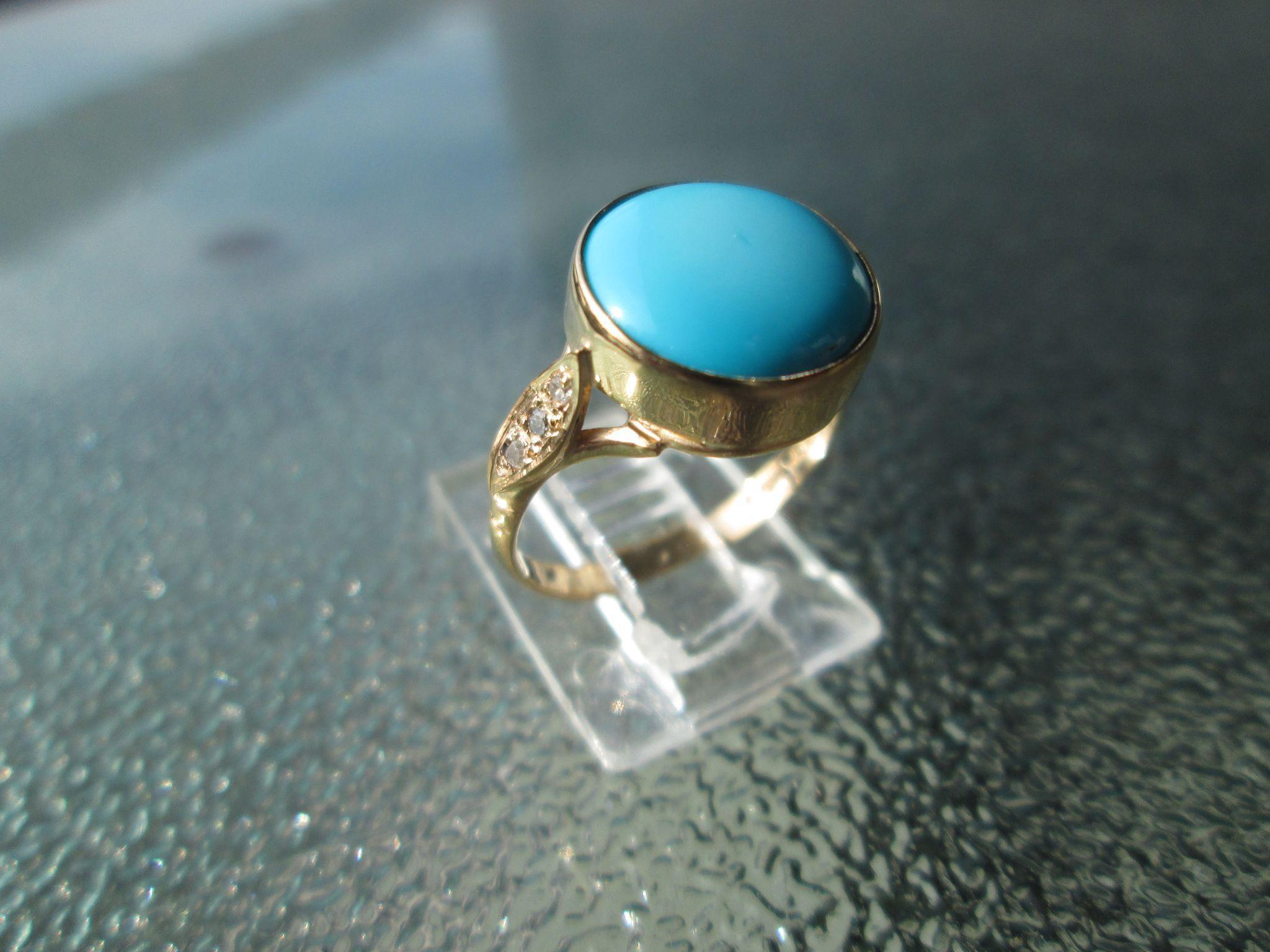 9kt Yellow Gold Blue Sky Round Turquoise and Diamond Artisan Ladies Ring