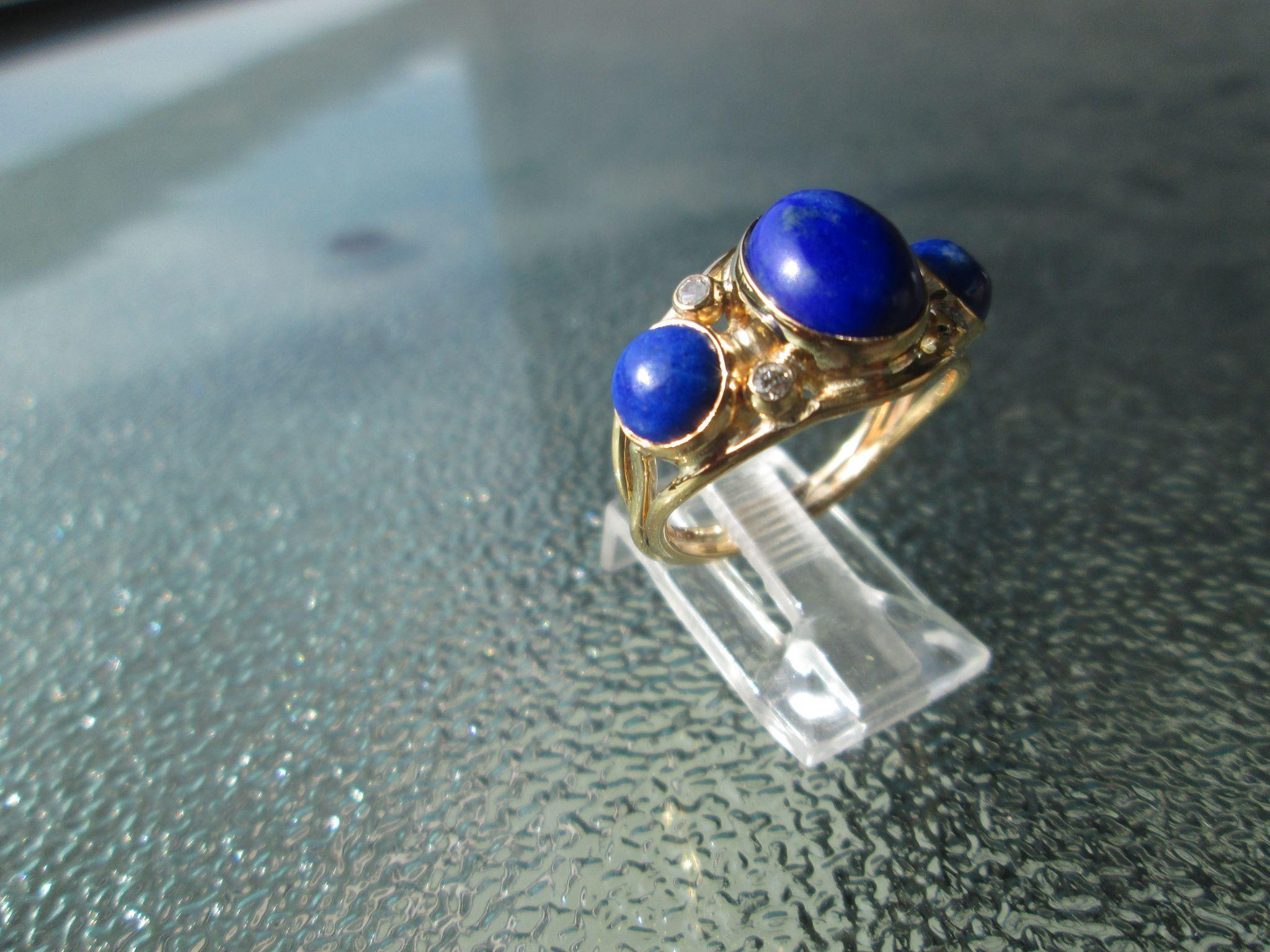 9kt Yellow Gold Oval and Round Triple Lapis Lazuli and Diamond Artisan Ladies Ring