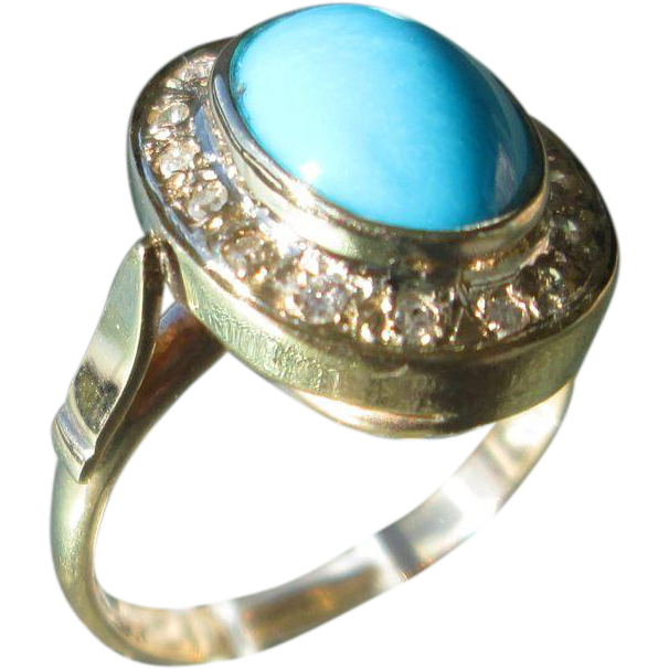 9kt Yellow Gold Oval Turquoise and Diamond Two Tier Ladies Artisan Ring