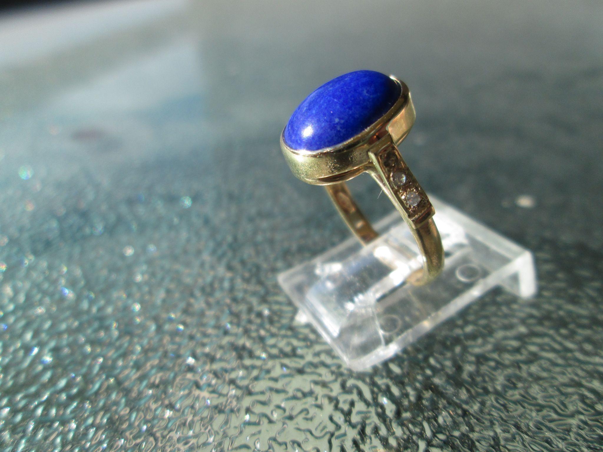 9kt Yellow Gold Vibrant Blue Lapis Lazuli and Diamond Artisan Ladies Ring