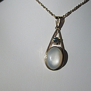 9kt Yellow Gold Oval Grey Moonstone, Sapphire, Diamond Artisan Pendant