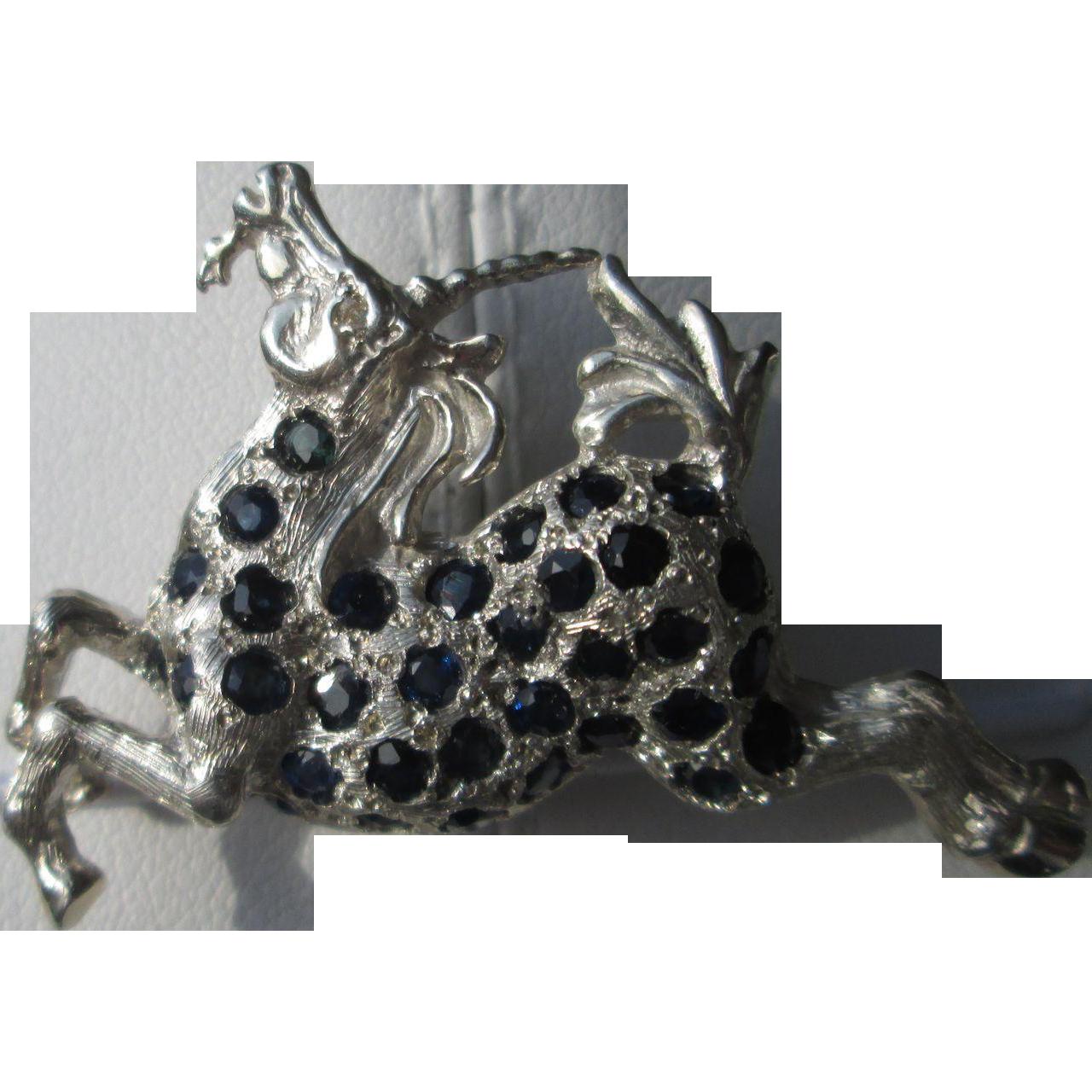 Sterling Silver Multi Sapphire Unicorn Brooch/Pendant