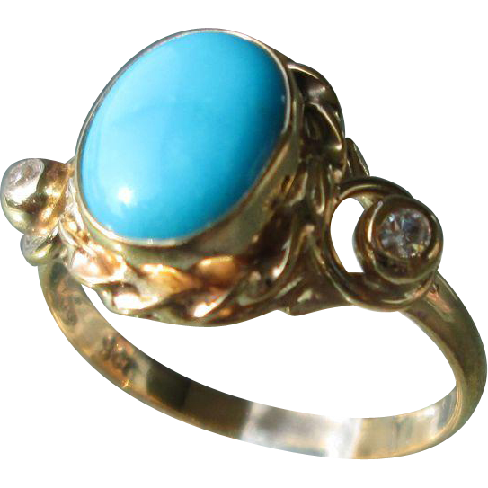9kt Yellow Gold Oval Turquoise/Diamond Ladies Ring