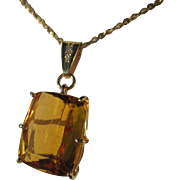 9kt Golden Rectangular Cut Citirine and Diamond Pendant