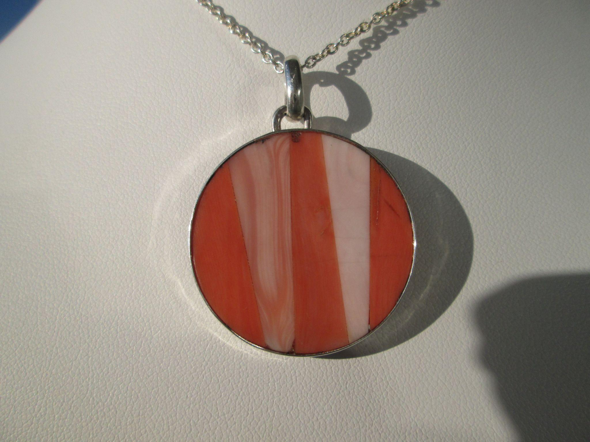 Sterling Silver Round Multi Sectional Pink Coral Necklace with Chain