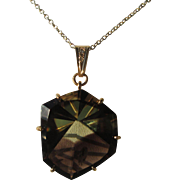9kt Yellow Gold  Fascinating  Smokey Topaz and Diamond Pendant