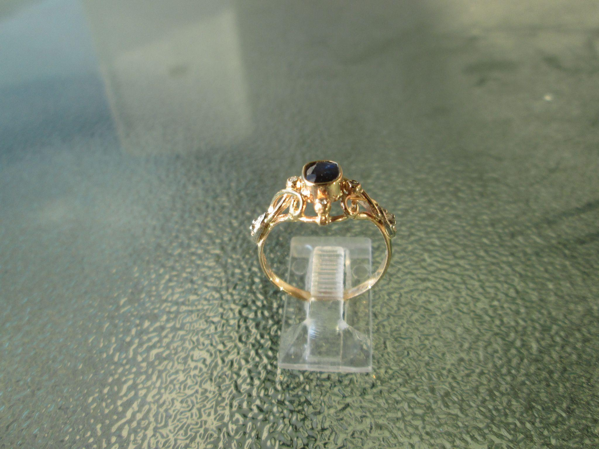 9-14kt Gold Sapphire/Diamond Ladies Artisan Ring