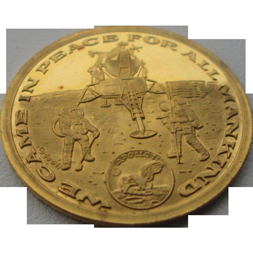22kt Gold Vintage Apollo Eleven Commemorative Coin