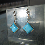 9kt Yellow Gold Turquoise/Freshwater Pearl Dangle Artisan Earrings