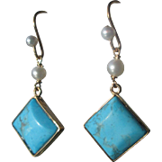 9kt Yellow Gold Turquoise/Freshwater Pearl Dangle Artisan Earrings