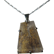 Sterling Silver Tree/Fern Agate Pendant with Chain