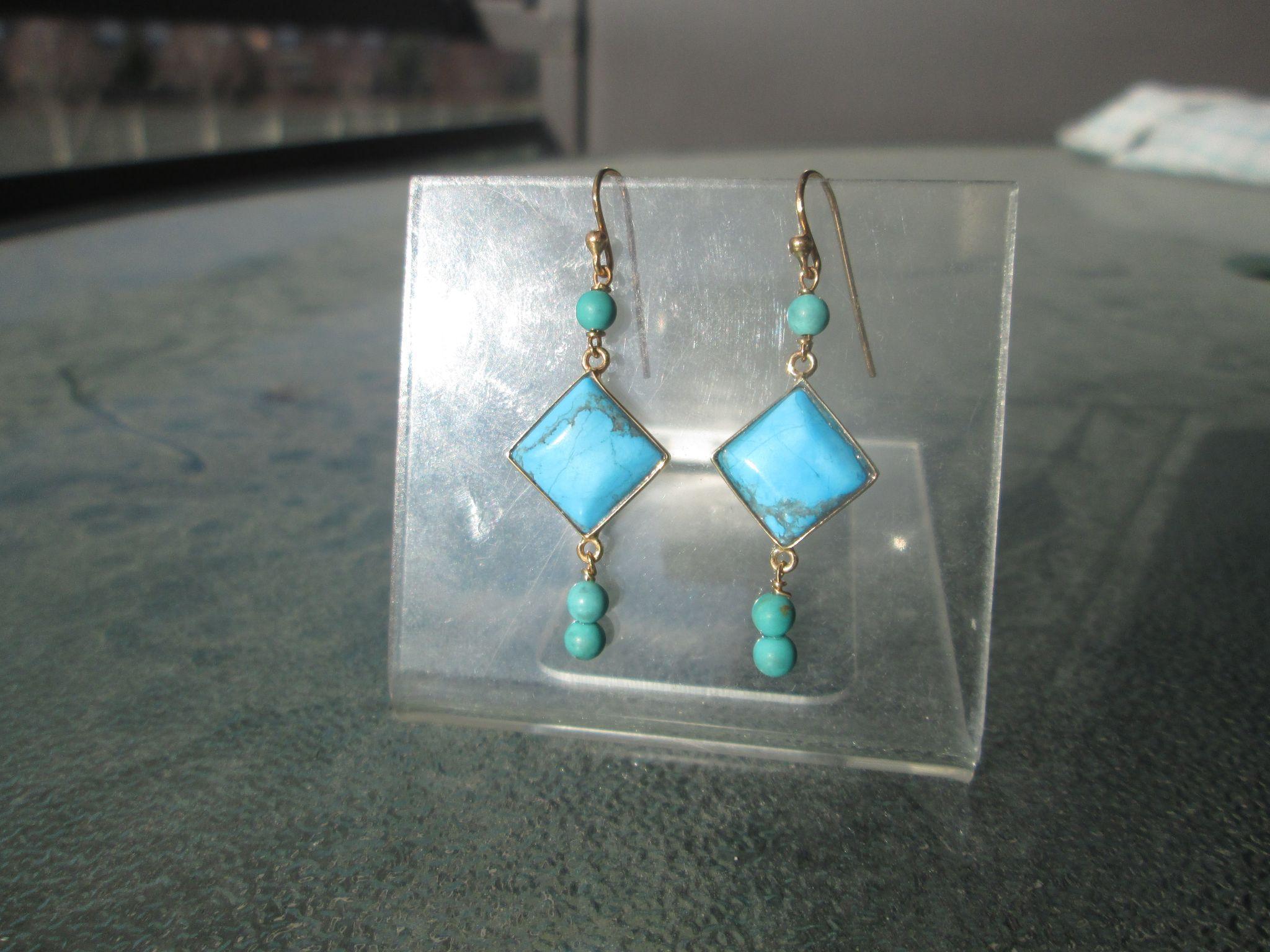 9kt Yellow Gold Diamond Shape Turquoise and Turquoise Bead Dangle Earrings