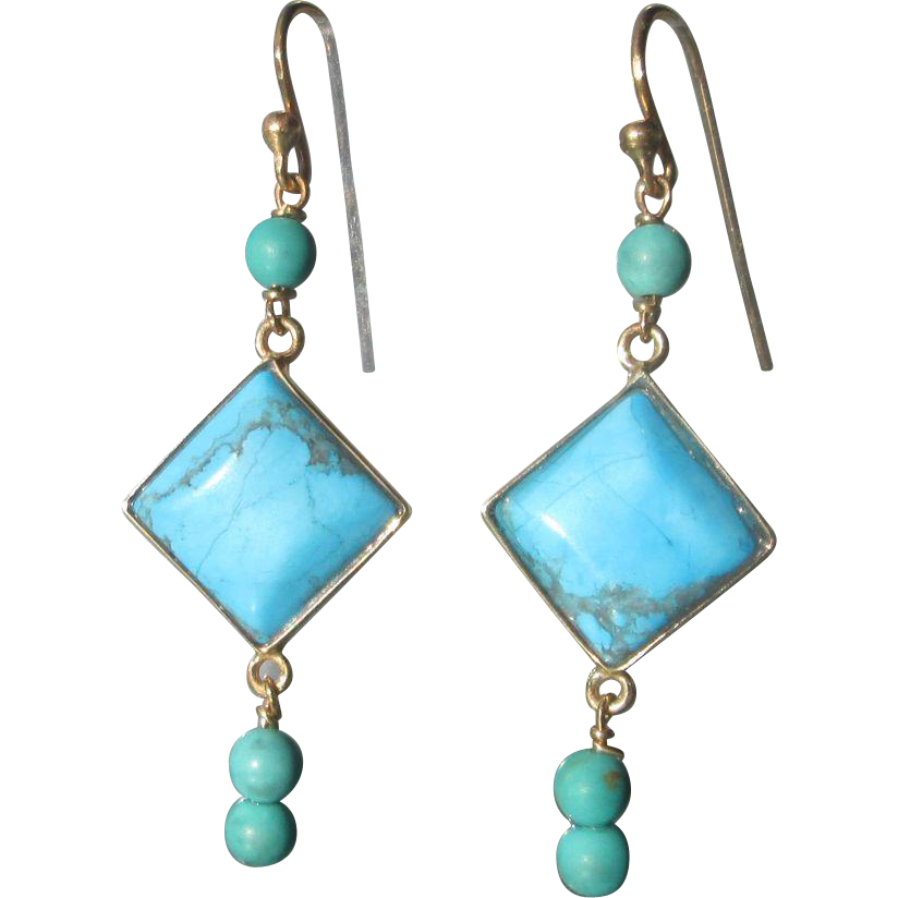 9kt Yellow Gold Diamond Shape Turquoise and Turquoise Bead Dangle Earrings
