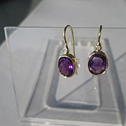 14kt Yellow Gold Wisteria Purple Amethyst and Diamond Dangle Artisan Earrings