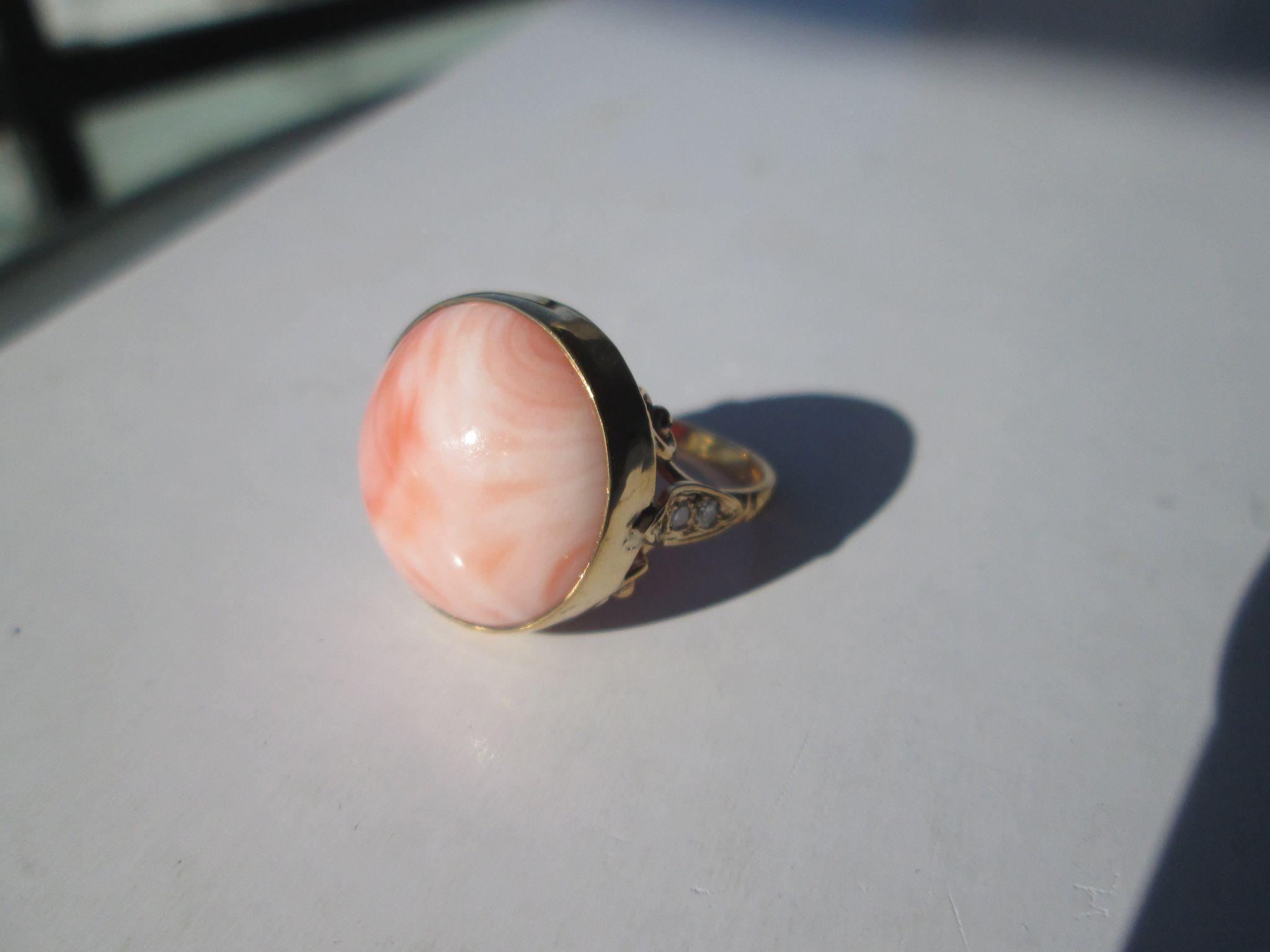 9kt Yellow Gold Round Large Angel Skin Coral and Diamond Leaf Ladies Artisan Ring