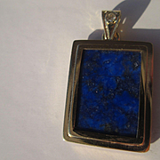 18kt Yellow Gold Rectangular Lapis Lazuli and Diamond Artisan Pendant