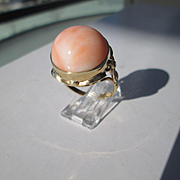 9kt Yellow Gold Dome Angel Skin Coral and Diamond Ladies Artisan Ring