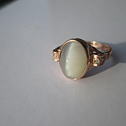 9kt Rose Gold Cats Eye Moonstone and Multi Diamond Ladies Artisan Ring
