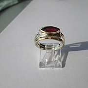 Silver/9ct Yellow Gold Ocular Shape Red Garnet Artisan Ladies Ring