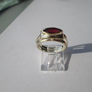 Silver/9ct Yellow Gold Ocular Shape Red Garnet Artisan Ladies Ring