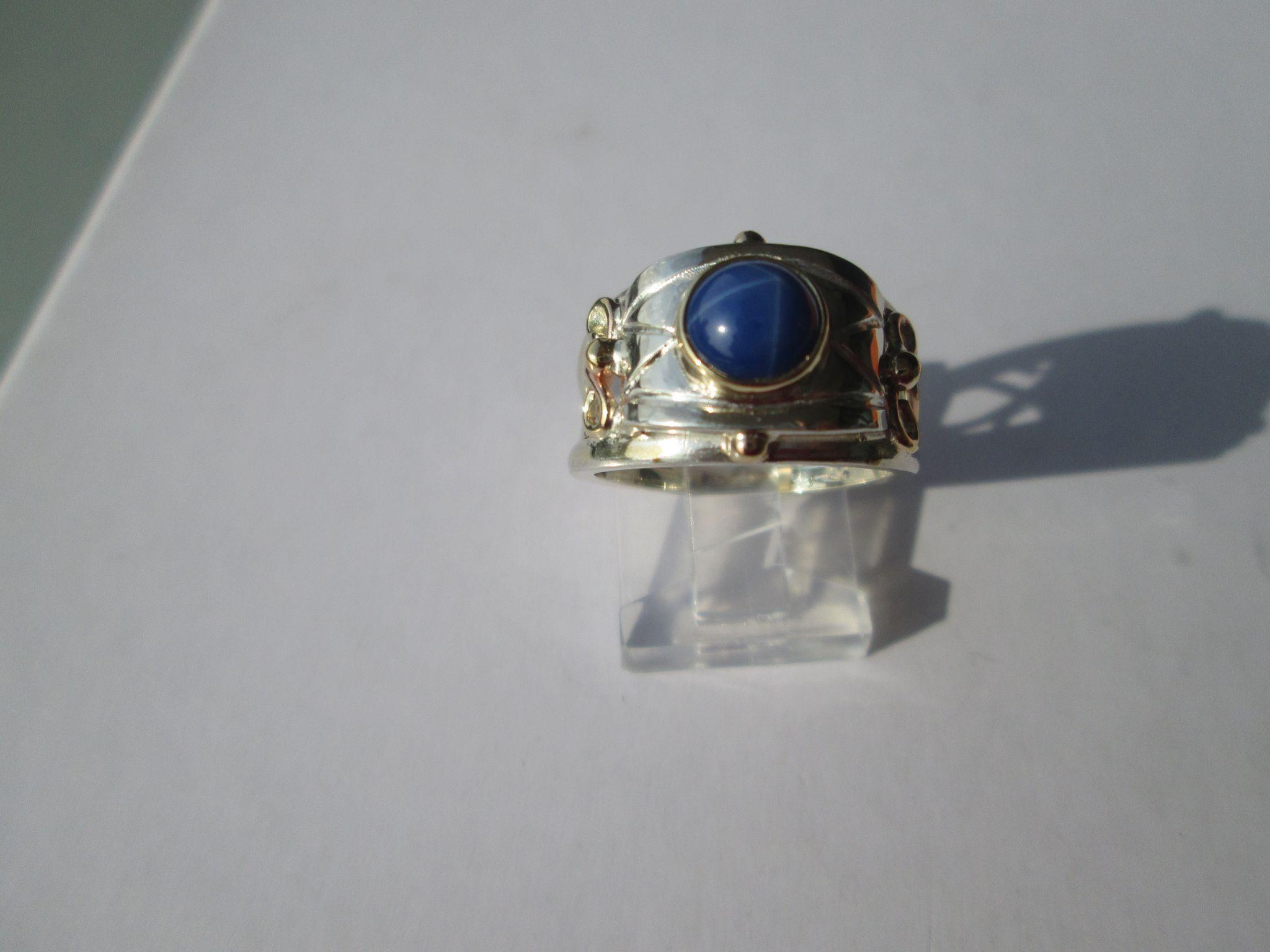 Lindy Star Sapphire Solitaire Silver/9kt Pink Gold Artisan Ladies Ring