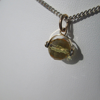 9kt Yellow Gold Sunshine Yellow Round See Through Citrine Pendant
