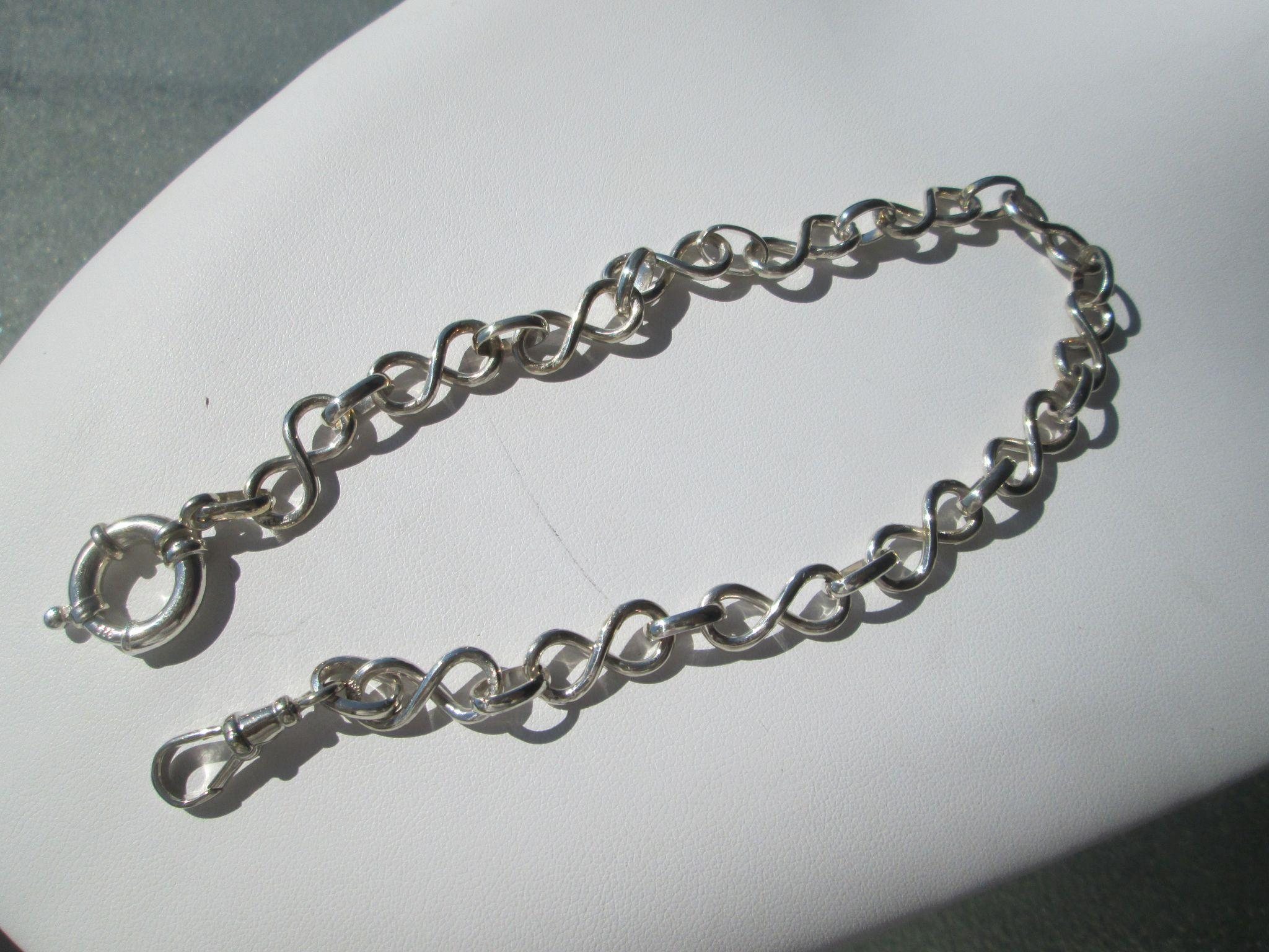 """Artisan Silver Twisted """"Eight"""" Multi Link Watch Chain"""
